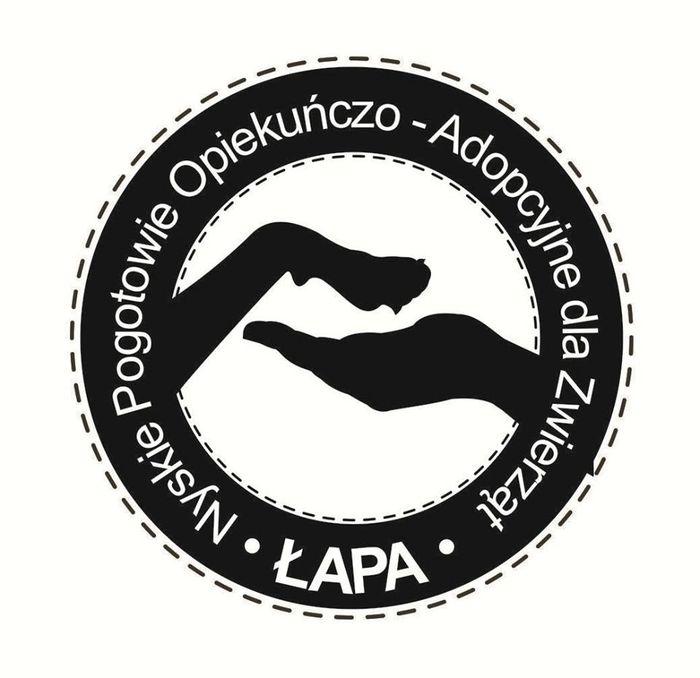 Nyskie Pogotowie Opiekuńczo-Adopcyjne dla Zwierząt ŁAPA - logotyp/zdjęcie